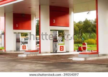 Empty petrol station at rural area - stock photo