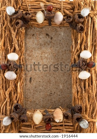 Empty photo frame, clear frame, wood, on white, portrait orientation. Natural frame. - stock photo