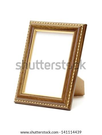 Empty photo frame isolated on white - stock photo