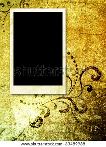empty photo frame on golden grunge background - stock photo