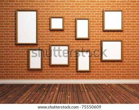 Empty photo frames on brick wall. 3d Illustration. - stock photo