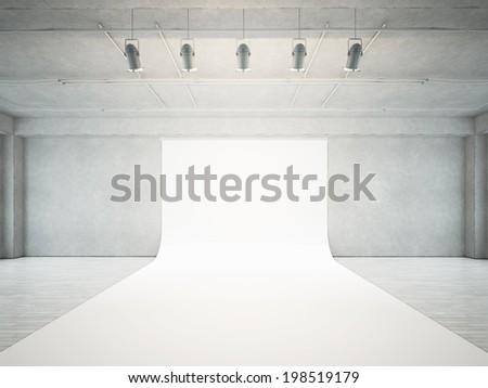 Empty photo studio interior - stock photo