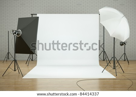 Empty photo studio interior with white background and lighting equipment. 3D render. - stock photo
