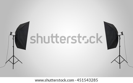 Empty photo studio with lighting equipment. For product display and advertising and promotional purposes. - stock photo