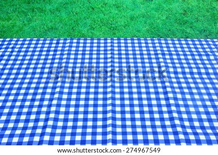 Empty Picnic Table With Blue White Tablecloth And Spring Lawn On The Background - stock photo