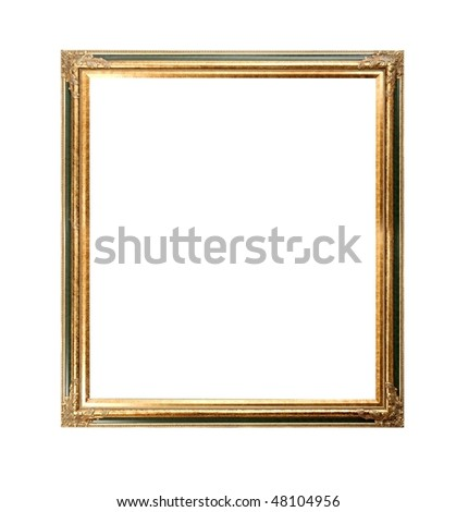 Empty picture frame on white background - stock photo