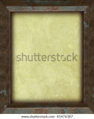 Empty Picture Frame with Antique Paper - stock photo