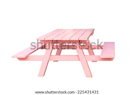 Empty pink picnic Standard table with benches on either side of the table isolated on white background. This has clipping path. - stock photo