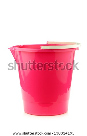 empty pink plastic household bucket on a white background - stock photo