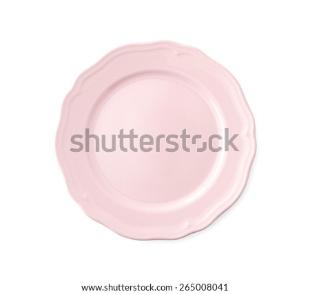 Empty Pink Porcelain Plate , Clipping Path , Isolated on white - stock photo