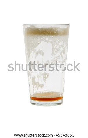 Empty pint glass with foam on white background