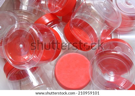 empty plastic bottle red cover - stock photo