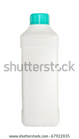 Empty plastic bottle with green stopper isolated on white background - stock photo