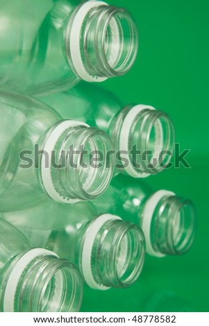 Empty Plastic bottles being prepared for recycling