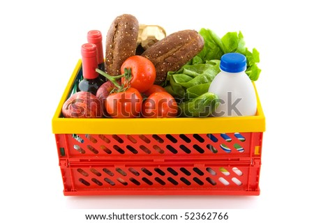Empty plastic colorful shopping box from plastic - stock photo