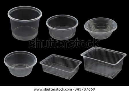 Empty Plastic Container  Isolated on Black Background
