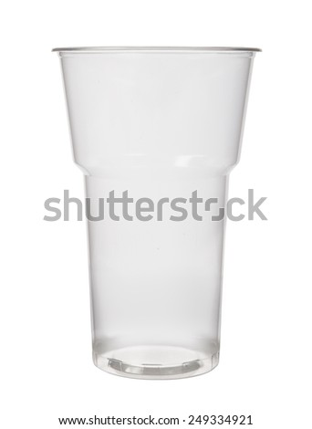 Empty plastic cup on a white background - stock photo