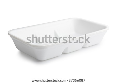Empty plastic food polystyrene tray with clipping path - stock photo