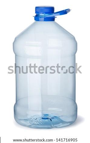 Empty plastic gallon bottle isolated on white - stock photo