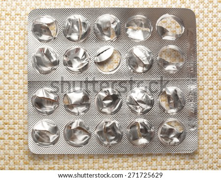 Empty plastic packing of pills on background - stock photo