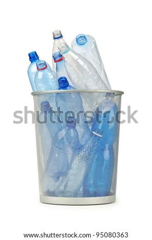 Empty plastic water bottles on white - stock photo