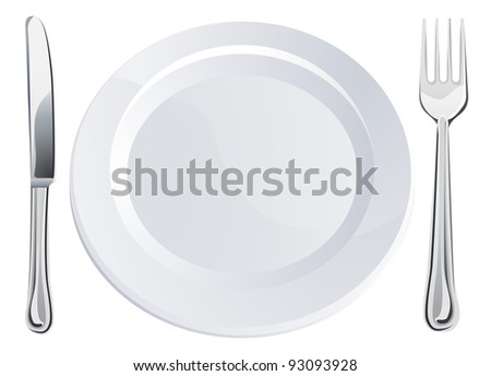 Empty plate and knife and fork cutlery place setting - stock photo