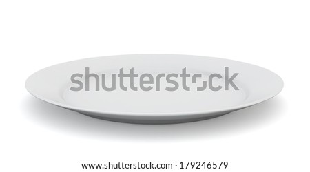 Empty plate. 3d illustration on white background  - stock photo