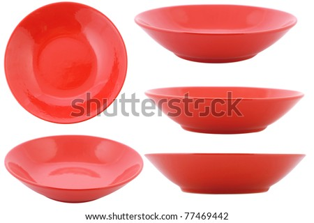 empty plate, five point of view on white background - stock photo