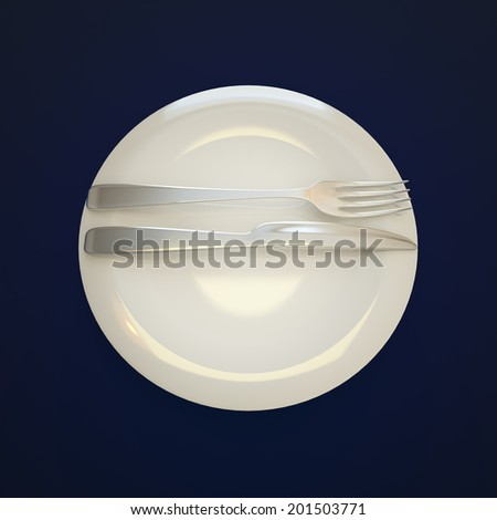 Empty plate, fork and knife on navy blue background.