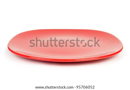 Empty plate isolated on a white background Clipping Path - stock photo