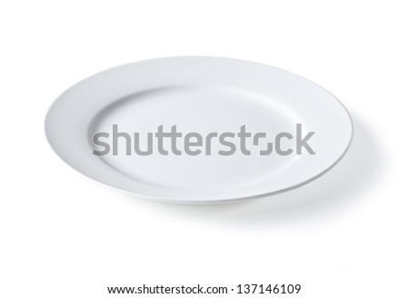 Empty plate isolated on a white background, with clip[ping path - stock photo