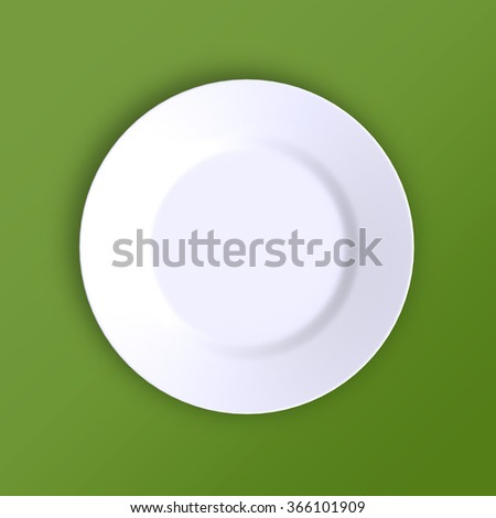 Empty plate. Isolated on green background. View from above. 3d illustration. - stock photo