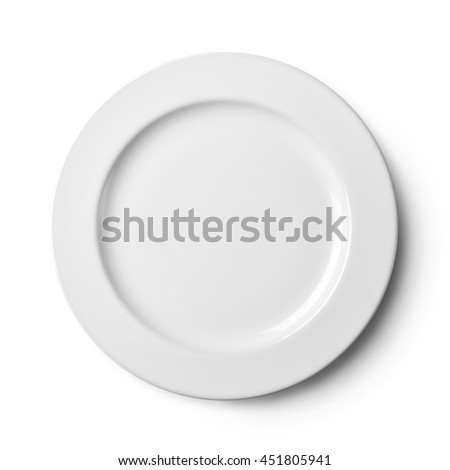 Empty plate. Isolated on white background. View from above with clipping path
