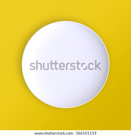 Empty plate. Isolated on yellow background. View from above. 3d illustration. - stock photo