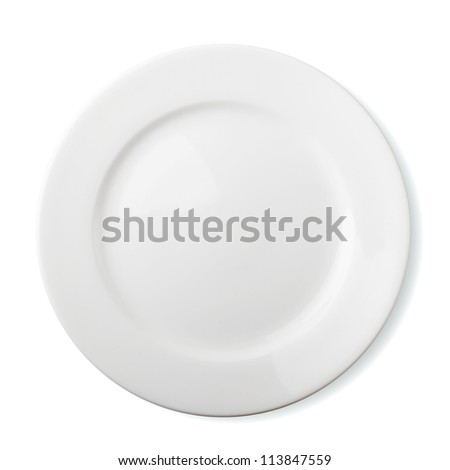 Empty plate - isolated over white background - stock photo