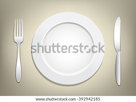 Empty plate, knife and fork on a light brown mesh background. Tableware set. Dishes for a meal. Empty template to put your food on the plate. - stock photo