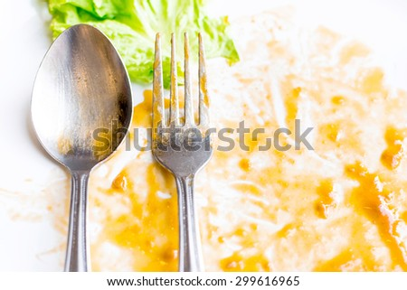 Empty plate left after dinner, background - stock photo