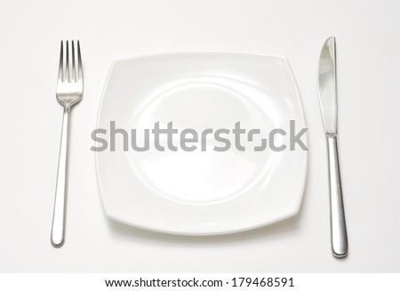 Empty plate with fork and knife over white background