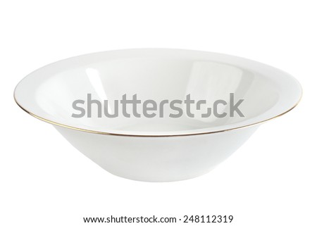Empty plate with gold rim isolated. White ceramic bowl. - stock photo