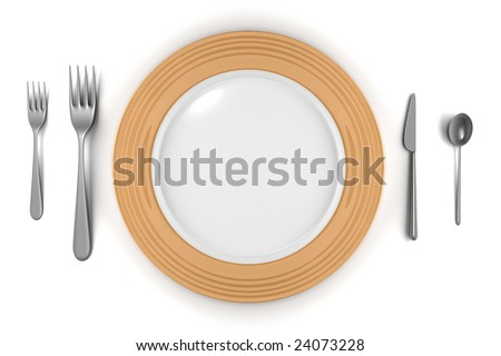 empty plate with knife, forks and spoon isolated on white