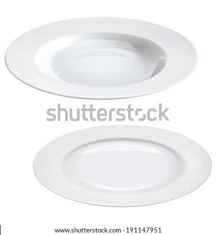 Empty plates isolated on white. - stock photo