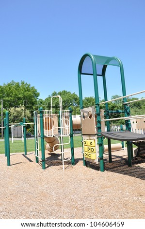 Empty Playground Jungle Gym Equipment Sunny Blue Sky Day Outdoor Community Neighborhood Park - stock photo