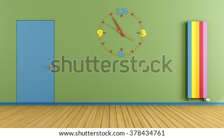 Empty Playroom with blue door colorful clock  and vertical heater- 3D Rendering - stock photo