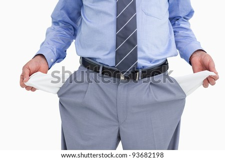 Empty pockets of tradesman being shown against a white background