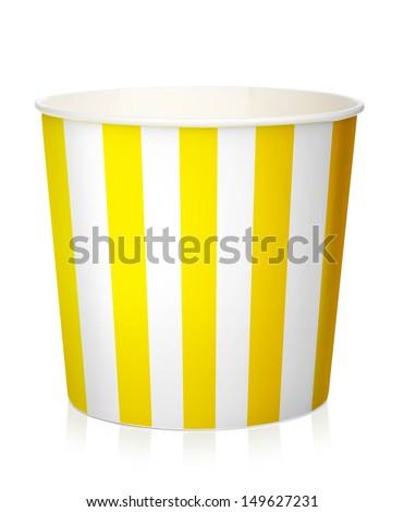 Empty popcorn box. Isolated on white background - stock photo