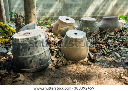 Empty Potted plants , Jardiniere ,Old Planter / Outdoor - stock photo
