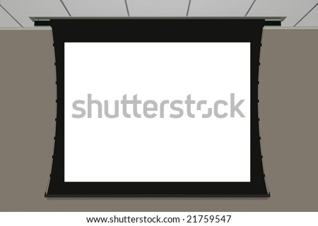 Empty projection screen - stock photo