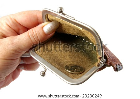 Empty purse in hand. - stock photo