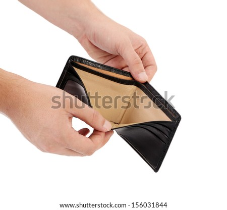 Empty purse in hands. Isolated on a white background.