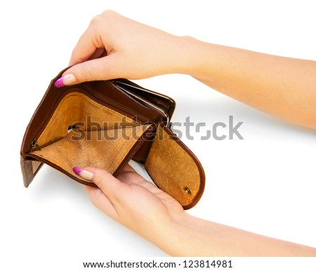 Empty purse in hands. On a white background. - stock photo